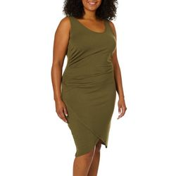 Derek Heart Juniors Plus Ruched Asymmetrical Sheath Dress