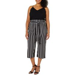 Derek Heart Juniors Plus Belted Striped Capri Jumpsuit