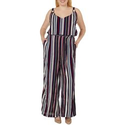 Derek Heart Juniors Plus Striped Tie Waist Jumpsuit