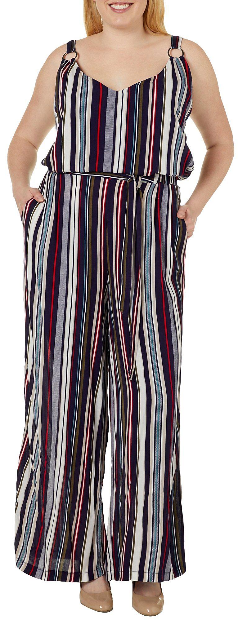 581daac5293 Derek Heart Juniors Plus Striped Tie Waist Jumpsuit