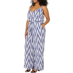Derek Heart Juniors Plus Chevron Print Tie Waist Jumpsuit