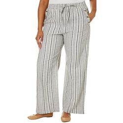 Derek Heart Juniors Plus Stripe Wide Leg Linen Pants