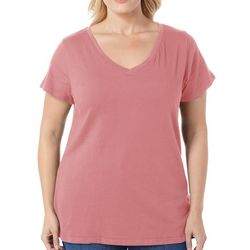 Derek Heart Juniors Plus Basic Solid V-Neck Top