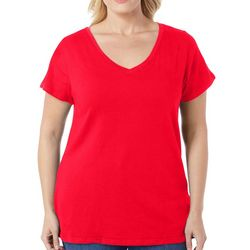 Derek Heart Juniors Plus Solid V-Neck T-Shirt