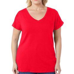 Derek Heart Juniors Plus Solid V-Neck T-Shirt