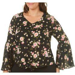 Derek Heart Juniors Plus Floral Cinched Bell Sleeve Top