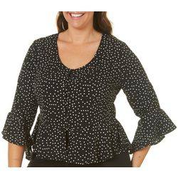 Derek Heart Juniors Plus Polka Dot Ruffle Hem Top