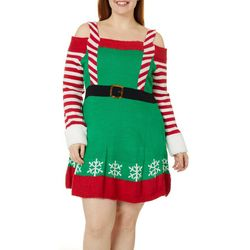 Derek Heart Juniors Plus Elf Cold Shoulder Sweater Dress