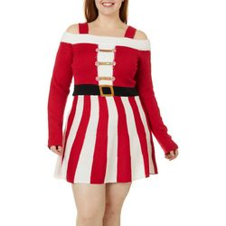 Derek Heart Juniors Plus Santa Cold Shoulder Sweater Dress