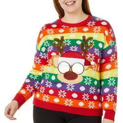 Derek Heart Juniors Plus Rainbow Striped Reindeer Sweater