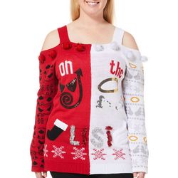 Derek Heart Juniors Plus Naughty Or Nice Pom Pom Sweater