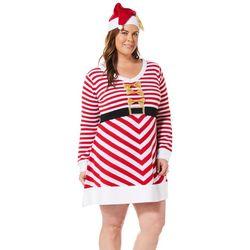 Derek Heart Juniors Plus Christmas Striped Sweater Dress Set