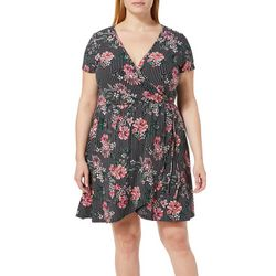 Derek Heart Juniors Plus Striped Floral Faux-Wrap Dress