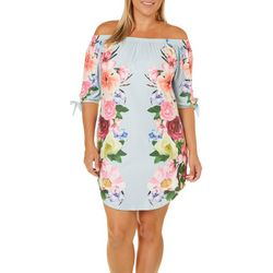 Derek Heart Juniors Plus Floral Print Off The Shoulder Dress