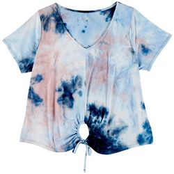 Wallflower Juniors Plus Tie Dye V-Neck Short Sleeve Top