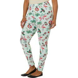 Full Circle Trends Juniors Plus Holiday Flamingo Leggings