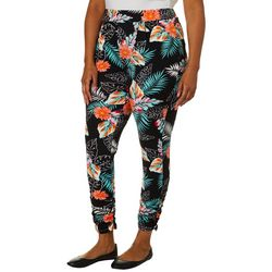 Full Circle Trends Juniors Plus Tropical Palm Print Leggings