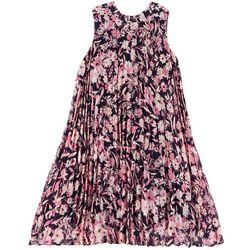 Juniors Plus Pleated Floral Sleeveless Dress