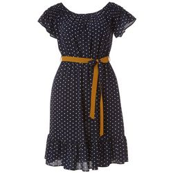 Paper Doll Juniors Plus Polka Dot Print Dress