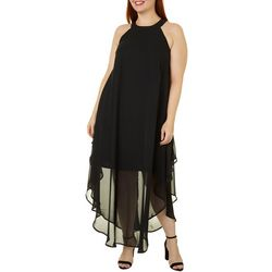 Plus Juniors Sheer Black Dress
