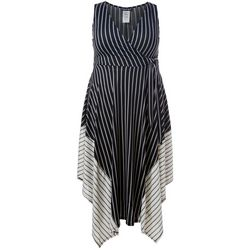Juniors Plus Mixed Stripe V-Neck Dress
