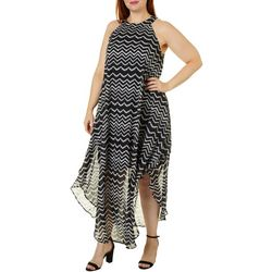 Plus Juniors Sheer Chevron Pattern Dress