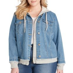 Jessica Simpson Plus Peony Distressed Denim Knit Jacket
