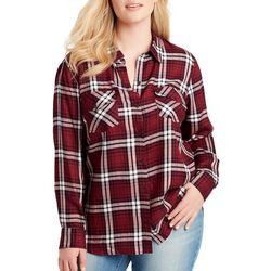 Jessica Simpson Plus Petunia Plaid Button Down Top