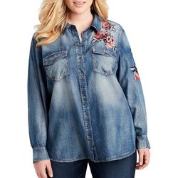 Jessica Simpson Plus Floral Embroidered Button Down Top