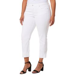 Jessica Simpson Juniors Plus Solid Roll Cuff Ankle Jeans