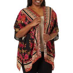 Angie Juniors Plus Floral Scarf Print Kimono