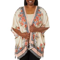 Angie Juniors Plus Floral Scarf Print Crochet Trim Kimono