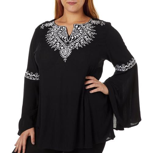 Angie Juniors Plus Embroidered Bell Sleeve Tunic Top