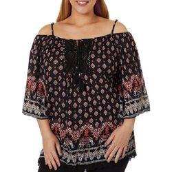 Angie Juniors Plus Crochet Trim Cold Shoulder Top
