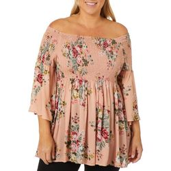 Angie Juniors Plus Smocked Floral Off The Shoulder Top
