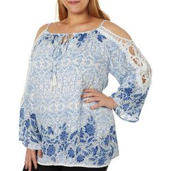 Angie Juniors Plus Crochet Detail Floral Cold Shoulder Top