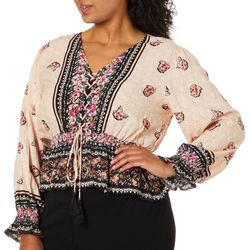 Angie Juniors Plus Cropped Mixed Floral Tassel Top