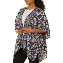 Angie Juniors Plus Floral Print Kimono Wrap