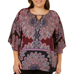 Angie Juniors Plus Damask Print Closed Kimono Top