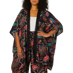 Angie Juniors Plus Tropical Floral Crochet Trim Kimono