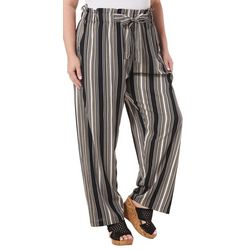 Angie Juniors Plus Striped Pull On Ankle Pants