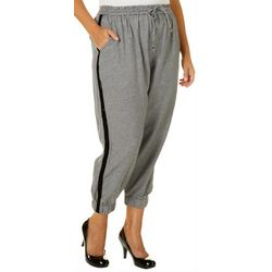 Angie Juniors Plus Houndstooth Athletic Striped Ankle Pants