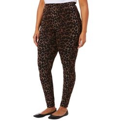 Just One Juniors Plus Leopard Print Seamless Leggings