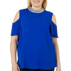 Nouvida Juniors Plus Jewel Neck Cold Shoulder Top
