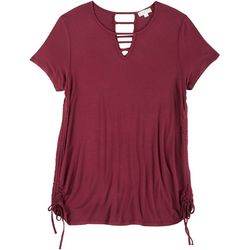 Glitz Juniors Plus Strappy Keyhole Neck Top