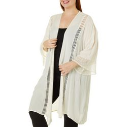 Moral Fiber Juniors Plus Lace Panels Crinkle Kimono