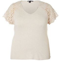 Moral Fiber Juniors Lace Raglan Sleeves Top