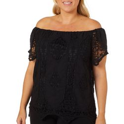 Say What? Juniors Plus Crochet Short Sleeve Top