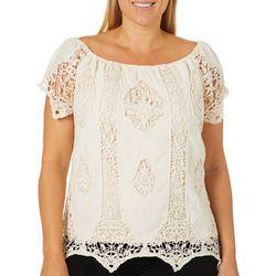 Say What? Juniors Plus Crochet Short Sleeve Top