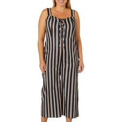 L.N.V. Juniors Plus Striped Lace-Up Gaucho Jumpsuit